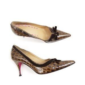 Emanuel Ungaro Brown Crocodile Print Bow Heels 9.5